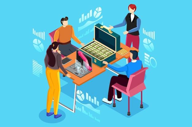 Flat office vergaderruimte verslag zakelijke samenwerking teamwork brainstormen onderhandeling