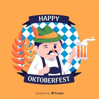 Flat oktoberfest met gelukkig man een toast geven