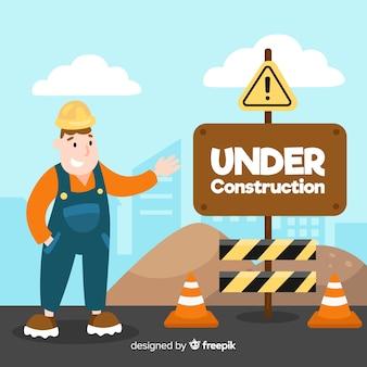 Flat onder constructie teken achtergrond met arbeider