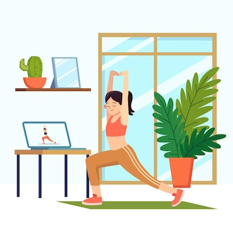 Flat online sport klassen concept geïllustreerd