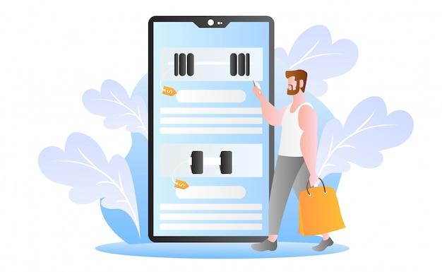 Flat online winkelen illustratie