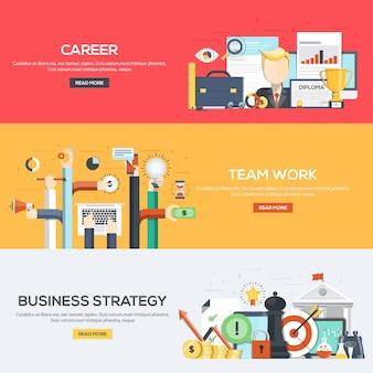 Flat ontworpen bannersmalplaatje - carrière, teamwerk en bedrijfsstrategie