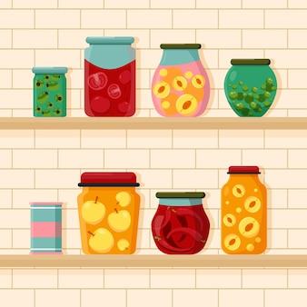 Flat pantry collectie illustratie