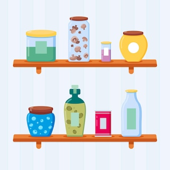 Flat pantry collectie illustratie