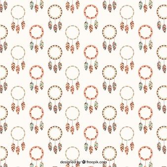 Flat patroon met decoratieve dreamcatchers