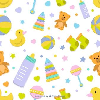 Flat patroon met fantastische babyelementen