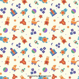 Flat patroon met kleurrijke babyspeelgoed