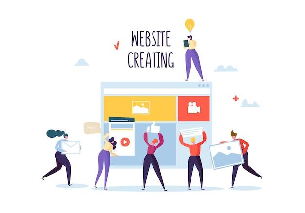 Flat people characters team work creëren van een webpagina