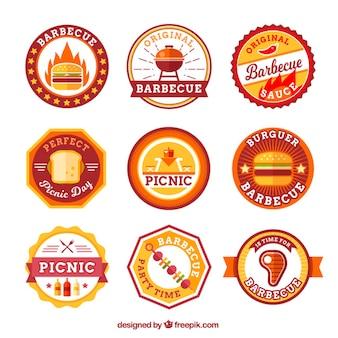 Flat picknick en bbq stickers