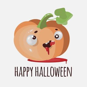Flat pompoen grappige halloween cartoon afbeelding