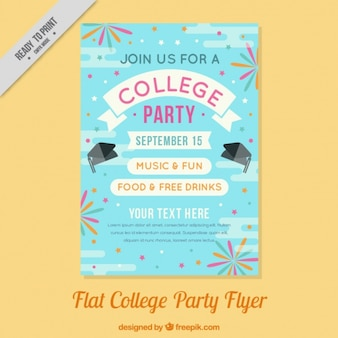Flat poster voor een college party