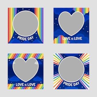 Flat pride day social media frame-collectie
