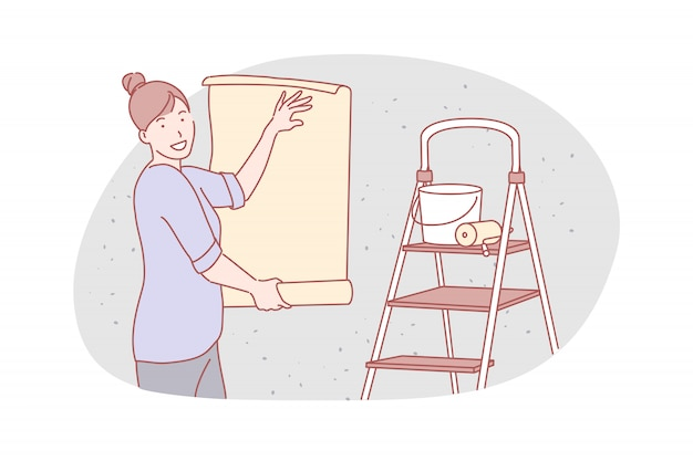 Flat repareren, service, behangers illustratie