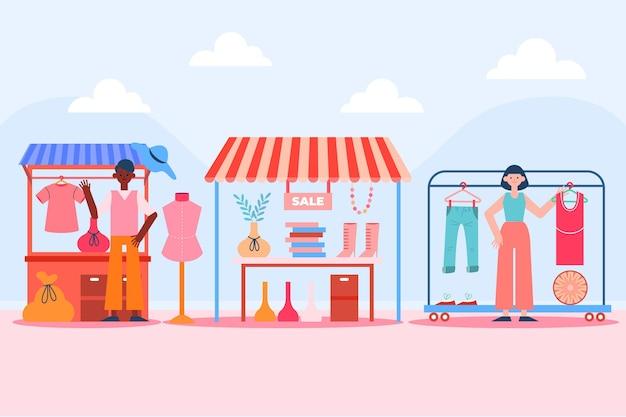 Flat rommelmarkt concept geïllustreerd
