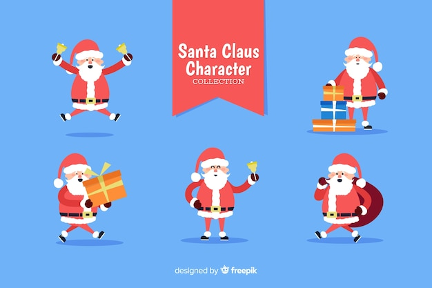 Flat santa claus character collection met label lint