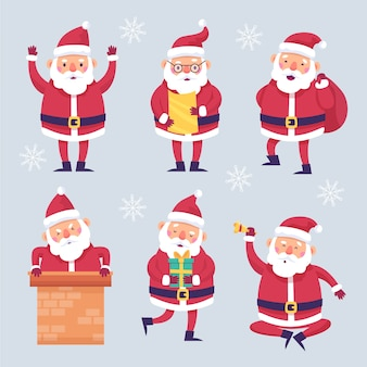 Flat santa claus-tekenset