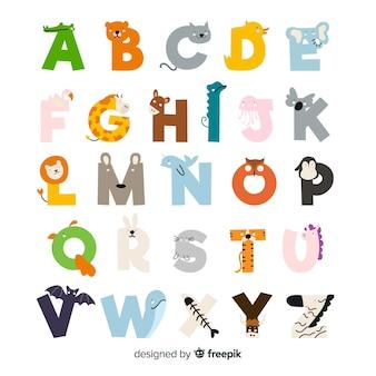 Flat schattige dieren alfabet