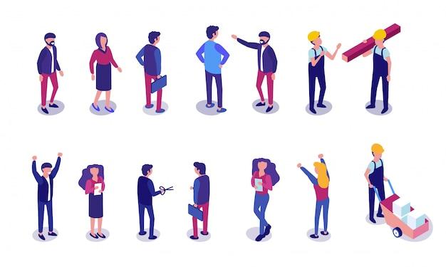 Flat set people verschillende beroepen isometrisch