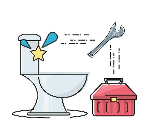 Flat set pictogram badkamer en hulpprogramma's sanitair