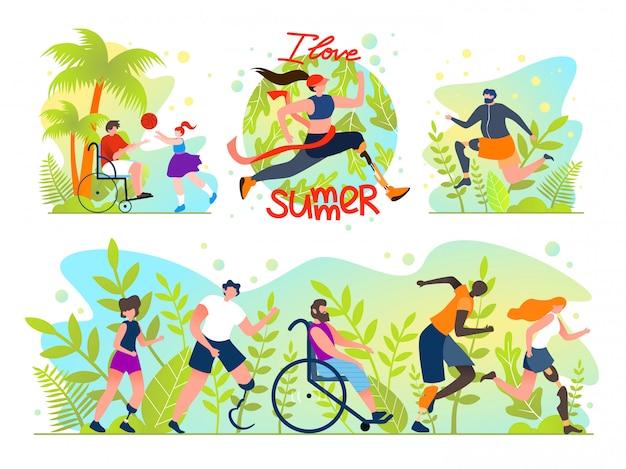 Flat set social flyer inscription i love summer