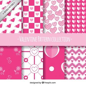 Flat set van acht witte en roze patronen voor valentijnsdag