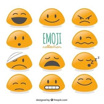 Flat set van emoticons met abstracte vorm