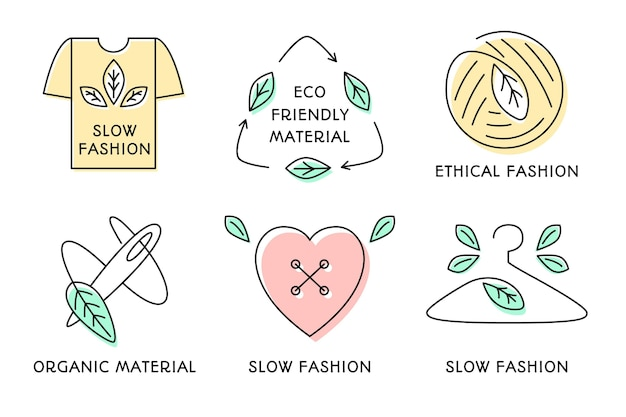 Flat slow fashion badge-collectie