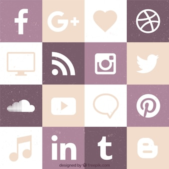 Flat social networking pictogram collectie