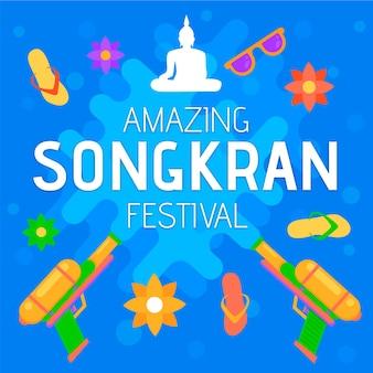 Flat songkran concept