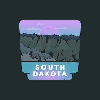 Flat south dakota illustratie embleem