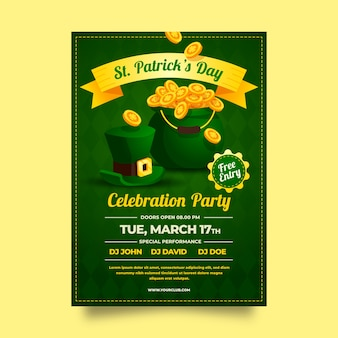 Flat st. patrick's day flyer of poster sjabloon