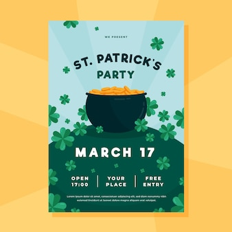 Flat st. patrick's day flyer / poster