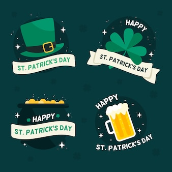 Flat st. patrick's day label / badge-collectie