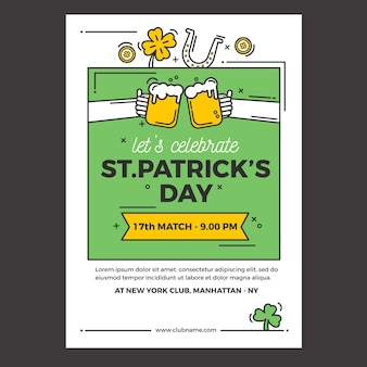 Flat st. patricks dag flyer / poster sjabloon