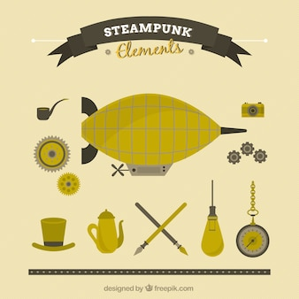 Flat steampunk dingen