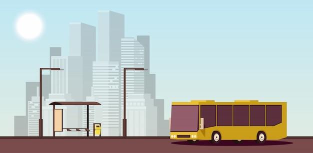 Flat stedelijk concept van openbaar vervoer. isometrische illustratie.