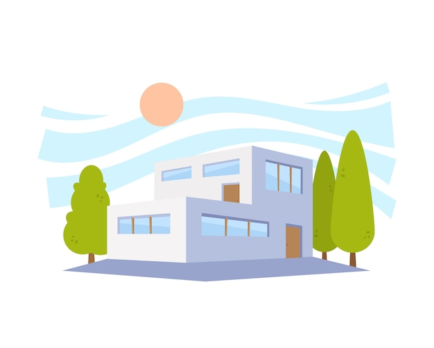 Flat style modern architecture house met groene bomen. illustratie in the perspective view.