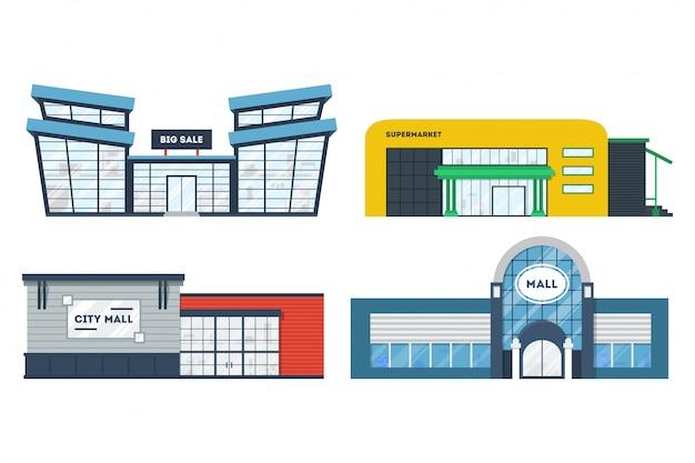 Flat supermarkt gebouwen set