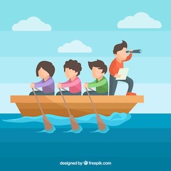Flat teamwork concept met mensen roeien
