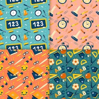 Flat terug naar school patronen collectie