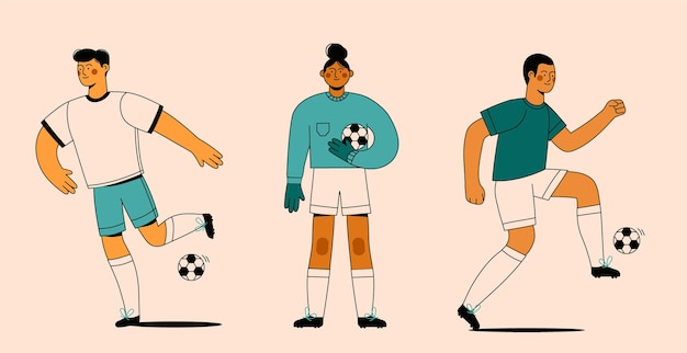 Flat training voetballers collectie