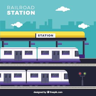 Flat treinstation met paarse gegevens