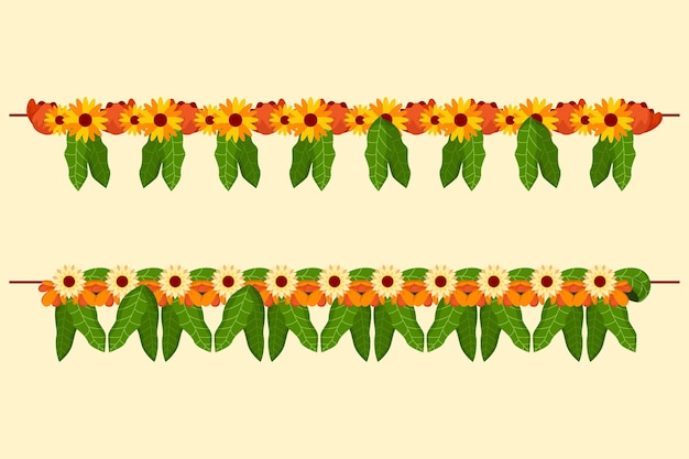 Flat ugadi garland illustratie