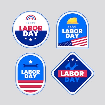 Flat usa labor day labels collectie