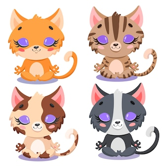 Flat van schattige cartoon katten meditatie. yoga katten. boerderijdieren mediteren.