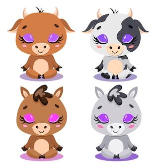 Flat van schattige cartoon koe, stier, paard en ezel meditatie. boerderij dieren yoga.