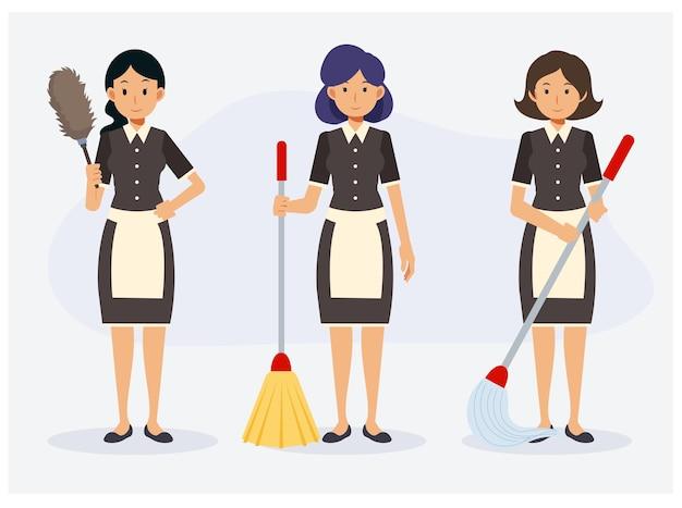 Flat van schoonmaak serviceconcept, 3 van meid met reinigingsapparatuur, bezem, dweil en plumeau.