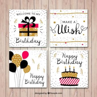 Flat verjaardagskaart set