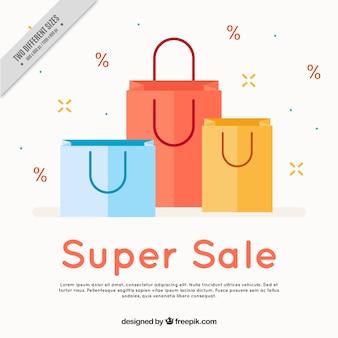 Flat verkoop achtergrond met drie gekleurde zakken
