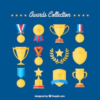 Flat verscheidenheid van gouden awards